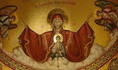 Α' ΧΑΙΡΕΤΙΣΜΟΙ: Αυτήν την εβδομάδα μετά και την Καθαρά Δευτέρα σε όλους τους Ορθόδοξους Ιερούς Ναούς θα ψαλεί την Παρασκευή, η ακολουθία των Χαιρετισμών. Orthodox Icons, Our Lady, Fresco, Wonder Woman, Princess Zelda, Faith, Superhero, Painting, Fictional Characters