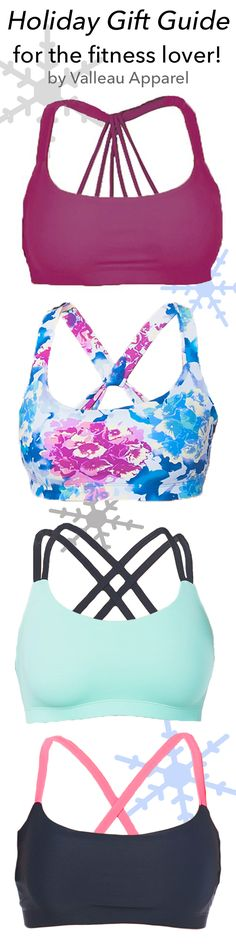 The perfect gift for your fitness lover friend! Put these gorgeous Valleau Apparel sports bras and leggings on your wish list this holiday season! Shop all of these and more on Valleau Apparel's active wear website <3 Great for yoga, crossfit, running, cheerleading, and so much more!