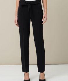 Pantalon de tailleur fluide noir ruche - PantalonsPrêt-à-porter