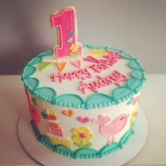 Custom Birdie birthday cake with number 1 cookie topper -- ALL BUTTERCREAM! <3 HayleyCakes and Cookies -- Austin, TX
