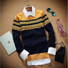 Dcost Navy Blue Cotton Printed Sweater