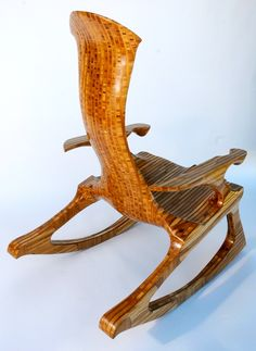 Kevin DesPlanques' rocking chairs are functional art pieces, made from a variety of woods -- shown here in bamboo plywood. sublimerockers.com