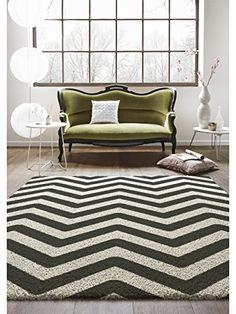 benuta Teppiche: Moderner Designer Hochflor Teppich Graphic Zick Zack Grau 160x230 cm - GuT-Siegel - 100% Polypropylen - Chevron / Zickzack - Maschinengewebt - Wohnzimmer