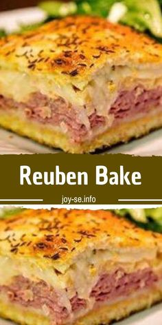 Reuben Bake You'll Need: 2 tubes ounces each) of refrigerated crescent rolls. 1 pound of sliced swiss cheese. pounds of sliced deli corned beef. 1 can ounces) rinsed and drained sauerkraut. cup of Thousand Island salad dressing. Gourmet Sandwiches, Tea Sandwiches, Sandwich Recipes, Reuben Sandwich, Corned Beef Recipes, Meat Recipes, Appetizer Recipes, Cooking Recipes, Dinner Recipes