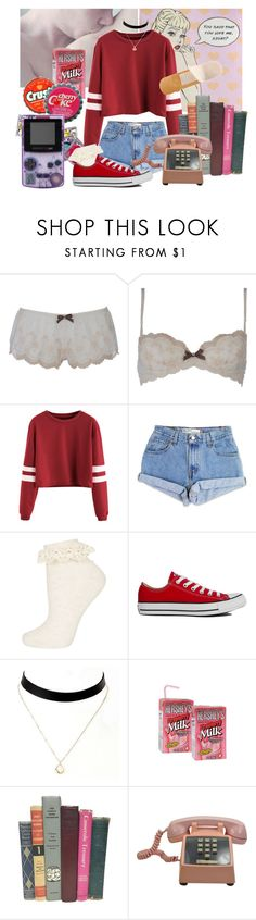 """""""School Days Nymphet"""" by techtonic ❤ liked on Polyvore featuring O Lingerie, Levi's, Topshop, Converse, vintage, red, lolita, daddy and nymphet"""