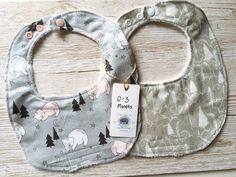 Gift set 2 woodland bear baby bibs, 0/3 months newborn boy girl dribble bibs, drool bibs, burp cloths, baby shower gift, baby clothes by SmallBearCraft on Etsy  #babyshowerideas