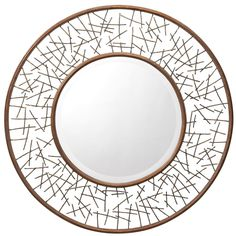 Features:  -Material: Steel, MDF and glass.  -Style: Contemporary.  -UL, CSA listed.  -Brown finish.  -Outer portion of mirror is beveled.  Shape: -Round.  Style: -Contemporary.  Beveled Glass: -Yes.