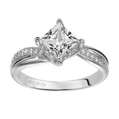 ArtCarved 14K White Gold Pave Bypass Diamond Engagement Ring
