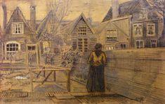 Sien's Mother's House Seen from the Backyard - Vincent van Gogh - Den Haag 1882 Artist Van Gogh, Van Gogh Art, Art Van, Theo Van Gogh, Vincent Van Gogh, Desenhos Van Gogh, Van Gogh Drawings, Van Gogh Landscapes, Paintings
