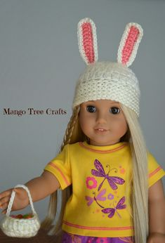 Crochet Easter bunny hat for American girl doll