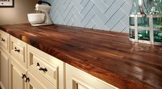 Shop our selection of wood butcher block counter tops at Floor & Decor. We have top quality wood countertops at rock bottom prices. Let us help you with your home improvement project. Walnut Butcher Block, Butcher Block Kitchen, Kitchen Redo, Kitchen Cabinets, Kitchen Ideas, Kitchen Makeovers, Kitchen Colors, Kitchen Inspiration, Kitchen Island