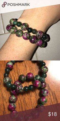 Natural stone beaded stretchy bracelets! 2 natural stone beaded stretchy bracelets! Large beads are 12 mm ruby zoisite jade beads. Smaller beads are 8 mm. Super cute on and a perfect addition to any bracelet stack! Jewelry Bracelets