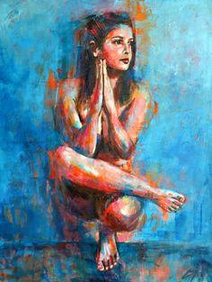 Artwork by Luzdy Rivera. #luzdyart #yoga #yogapose #boldcolorfigure Wind Of Change, Follow Your Heart, Portrait, Bold Colors, Original Paintings, Bloom, Yoga, Canvas, Artwork