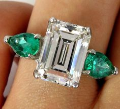GIA HUGE 6.42ct Emerald Cut Diamond and Green Emeralds Engagement Wedding Platinum Ring by TreasurlybyDima on Etsy https://www.etsy.com/listing/288286031/gia-huge-642ct-emerald-cut-diamond-and