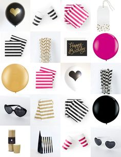 The TomKat Studio: Kate Spade Inspired Birthday Party - Black, White, Pink and Gold