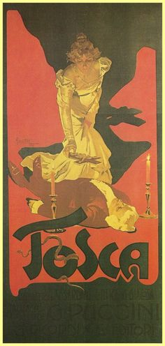 Hariclea Darclee in Tosca,1900, poster by Adolfo Hohenstein
