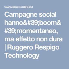 Campagne social hanno'boom'momentaneo, ma effetto non dura | Ruggero Respigo Technology