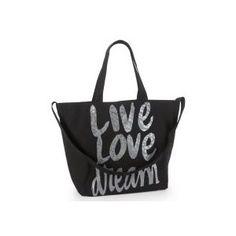 Aeropostale Tote Bag Handbag Love Live Dream Glitter Print Black Bag