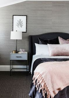 Great use of velvet pillows. The throw blanket really balances out the silky comforter.