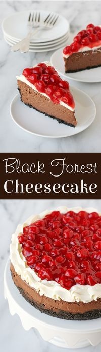 Luscious chocolate cheesecake is topped with whipped cream and cherries to create and amazing Black Forest Cheesecake!