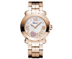 Chopards My Happy Sport Bespoke Passion watch with metal bracelet.