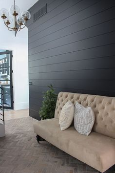 Our Black Mudroom with Brick Herringbone Floors - The House of Silver Lining modern black shiplap wall Black Accent Walls, Accent Walls In Living Room, Accent Wall Bedroom, Black Walls, Living Room Decor, Black Brick, Black Painted Walls, Living Rooms, Ship Lap Accent Wall