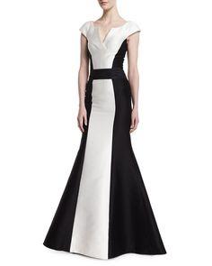 Carolina Herrera Cap-Sleeve Tuxedo Colorblock Gown, Black/White