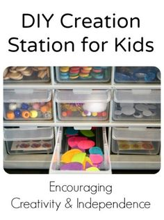 Tips for organizing a creation station for craft materials and encouraging creativity and independence...awesome for summer days!