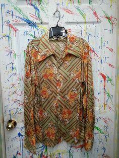 Men's vintage long sleeve button down nylon polyester disco pimp shirt size Large Green Yellow Brown Striped Floral Design 1970s by RagsAGoGo, $25.00