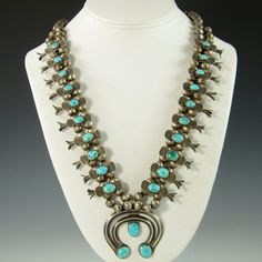 Vintage 1940 Box Bow Silver and Turquoise Squash Blossom Necklace