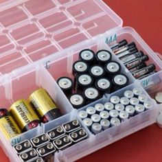 Tackle box to organize and store batteries!