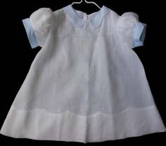 Vintage Blue and White Batiste Baby Dress Embroidery