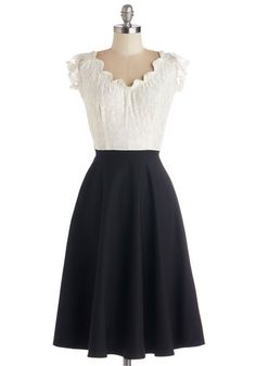 1940s Style Dresses and Clothing - Up, Opera, and Away Dress in Cream from ModCloth. 1940's Style Dirndl Skirt and peasant blouse $169.99  #1940sfashion #1940sdress