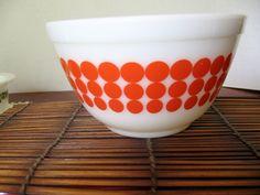 Vintage 1960's Pyrex Orange Dot Bowl. $23.00, via Etsy.