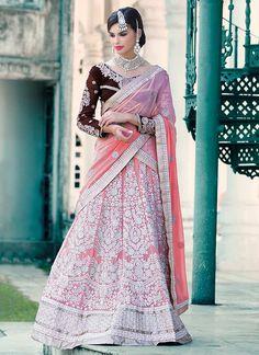 Chic Pink Georgette A Line Lehenga Choli