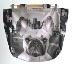 Tote bag with frenchie print, French Bulldog in the city