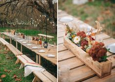Long picnic tables and boho farm centerpieces set the tone for a Bohemian Farm venue setting..