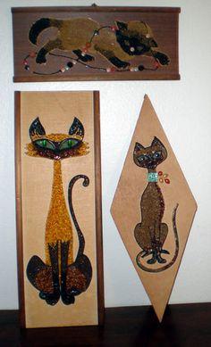 Vintage Mid Century Retro Eames Cat Kitten Siamese Gravel Wall Art Picture | eBay
