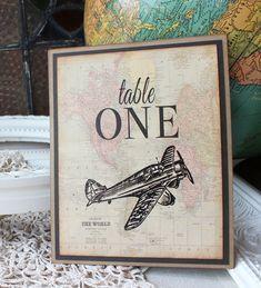 vintage aviation, travel, world map wedding reception table number / Sunshine and Ravioli