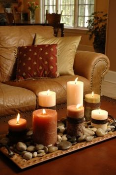 Such a lovely centerpiece for your coffee table.  I am sooo ready for fall/autumn.  Love the colors!