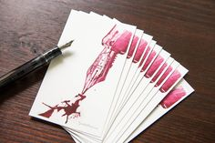 This 10-pack of fountain pen friendly Goulet note cards includes a reproduction of one of our Monday Matchup drawings on the front, which was originally created with a fountain pen and ink by one of our talented team members! Printed on bright white cardstock, the back side of each card is blank.