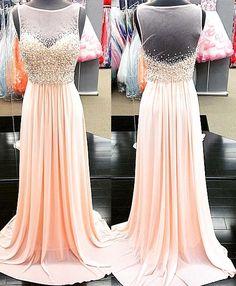 Pink Prom Dress,Beading Evening Dress,Illusion Neckline Prom Dress,Chiffon Prom…