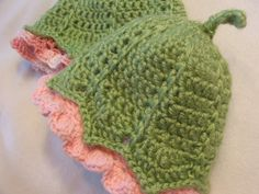 "Crochet pattern for ""My Darling Little Flower Bud"" Baby Cap -- See SusanLinnStudio on Etsy"