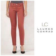 9efec1a4f4e37 Womens LC Lauren Conrad Jeans Skinny Leg Dusty Rose Colored Sz 2 4 10 NWT