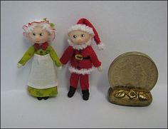 Adora Bella Minis Handmade Miniature Dolls 48th Scale.  Mother & Father Christmas.