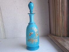 1870s BLUE TRANSLUCENT BRISTOL GLASS COLOGNE BOTTLE & STOPPER PAINTED…