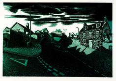 "Bryan Angus Lino Prints. ""Up Gallow Hill"""