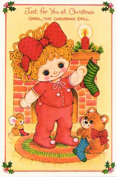 Christmas Paper Doll Card - Ragdoll Carol * 1500 free paper dolls at Arielle Gabriels International Paper Doll Society also her memoir childhood Joys and miracles The Goddess of Mercy also known as Kuan Yin & The Dept of Miracles *