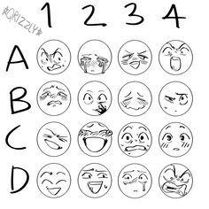 I don't know if these are still hashtag trendy but I did one and it was fun! you don't have to but if u use this id dig it if u tagged me… Drawing Face Expressions, Cartoon Faces Expressions, Drawing Faces, Drawing Hair, Drawing Drawing, Cute Cartoon Faces, Facial Expressions, Drawing Meme, Drawing Prompt