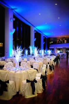 pretty winter themed wedding #blue #wedding #uplighting http://www.discoverydecorlighting.com